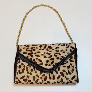 Kotur Pony Hair Leopard Gold Chain Envelope Clutch